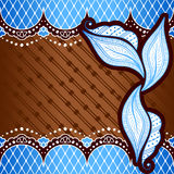 Blue background inspired by Indian mehndi designs Stock Image