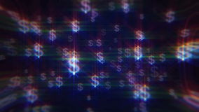 Blue background with iridescent dollar signs stock footage