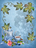 Blue background with leaves and tea cup stock illustration