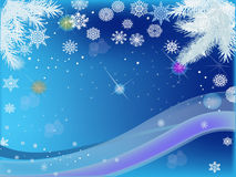 Blue background with light snowflakes Royalty Free Stock Photos