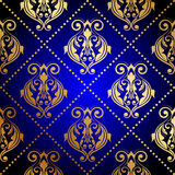 Blue background with luxury gold ornament Stock Images