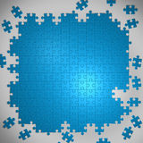 Blue background made from puzzle pieces. And place for your content Royalty Free Stock Photos