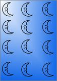 Blue. Background with moon suitable for text or container stock illustration