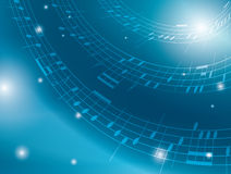 Blue background with musical notes - vector Royalty Free Stock Photos