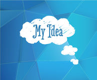 Blue background with my idea cloud. Royalty Free Stock Photos