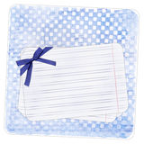 Blue background with note paper and bow Stock Images
