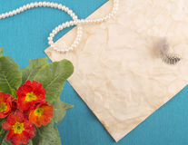 Blue background, old paper, string of pearls, red flowers.  Stock Photo