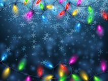 Background with Christmas garland and snow. Blue background with olor Christmas garland lights and snowflakes. Vector illustration Royalty Free Stock Photo