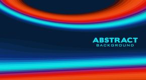 Blue background with orange and turquoise line. Vector graphics royalty free stock photo