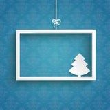 Blue Background Ornaments White Frame Christmas Tree. White frame on the blue background Stock Image