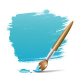 Blue background with paint brush Stock Photo