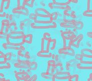 On a blue background painted cups and saucers. On a bright blue background painted pale pink cups and plates blurred and clear Vector Illustration