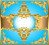 Blue background painting frame, with ornaments of  Stock Photo