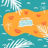 Blue background with palm trees and bus template stock illustration