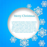 Blue background with paper snowflake. Royalty Free Stock Images