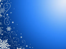 Blue background, in patterns and snowflakes Stock Photo