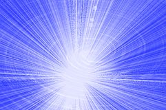 Blue background of rays emerging from the center and a glowing spiral Royalty Free Stock Photography