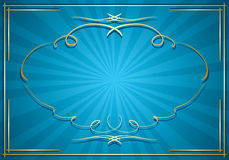 Blue vector background with rays and gold frame Stock Photo