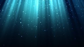 Blue background with rays of light, divine radiance, sparkles, night shining starry sky, seamless loop. Empty blue background with rays of light, divine radiance stock video footage