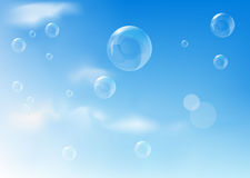 Blue background with realistic bubbles Stock Photo