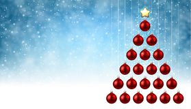 Blue background with red Christmas tree. Blue New Year background with red Christmas balls. Vector illustration Stock Photography