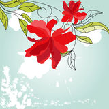 Blue background with red flowers. Colorful illustration Stock Photos