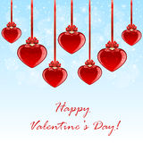 Blue background with red hearts Stock Images