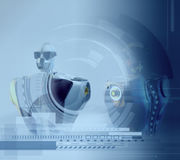 Blue background with robots.Conceptual Technology Design.Robotic Stock Image