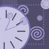 Blue background with round clock and arrows Stock Images
