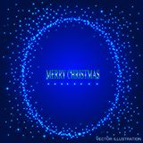 Blue background with round frame from stars. Vector illustration. Blue background with round frame from stars. Illustration for holidays merry christmas and new stock illustration