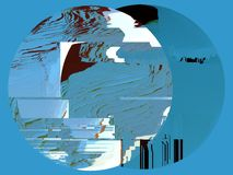 Blue background with round shapes, tv glitch effect stock illustration