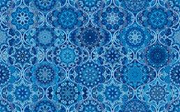 Blue Background Round Tile Mandala Ogee Royalty Free Stock Photos
