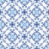 Blue Background Royal Weave Pattern. Blue background. Stylized flower seamless pattern. Square boho design element. Vector illustration. Wallpaper print Royalty Free Stock Photo