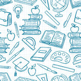 Blue background with school supplies Royalty Free Stock Photos
