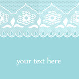 Blue background with seamless retro lace strip. Royalty Free Stock Images