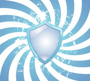 Blue background with shield Stock Photo