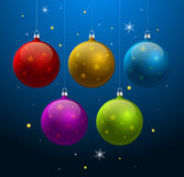 Blue background with shiny Christmas balls. Blue christmas new year background with shiny Christmas balls and bright snowflakes Stock Images