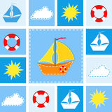 Blue background with ship. royalty free illustration