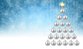 Blue background with silver Christmas tree. Blue New Year background with silver Christmas balls. Vector illustration Stock Image