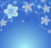 Blue background with silver flowers. Glowing blue background with silver colors, adorned with reticulated pattern and diamonds Stock Photography