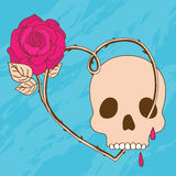 Blue background with skull, heart and rose Royalty Free Stock Photography