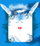 Blue background with smile and wings of fairy Royalty Free Stock Photography