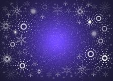 Blue background with snowflakes Royalty Free Stock Photos