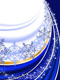 Blue background with snowflakes. Abstract blue New Year's background with  folds and snowflakes Stock Images