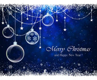 Blue background with snowflakes and Christmas balls Royalty Free Stock Photo