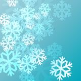 Blue background with snowflakes in a cold winter. A card for Christmas or a holiday. Illustration Stock Photo