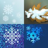 Blue background with snowflakes in a cold winter. A card for Christmas or a holiday. Illustration Stock Image