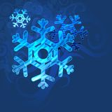 Blue background with snowflakes in a cold winter. A card for Christmas or a holiday. Illustration Royalty Free Stock Photography