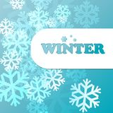 Blue background with snowflakes in a cold winter. A card for Christmas or a holiday. Illustration Royalty Free Stock Image