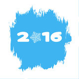 2016 on a blue background with snowflakes and in a frame of frost Royalty Free Stock Images